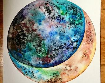 Rainbow Textured Crescent Moon Painting (ORIGINAL)
