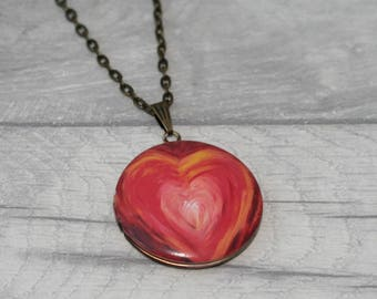 Red Heart Locket Necklace, Love Jewelry, Valentines Gift, Heart Locket
