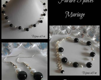 Set of 3 wedding pieces twist of black and white beads