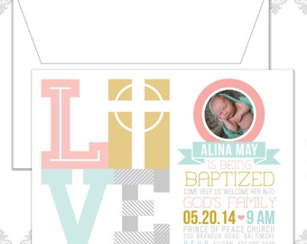 Cross Love Baptism Invite, Photo Baptism Announcement, Christening Announcement, Modern Baptism Invite, Modern Love Cross Christening Invite