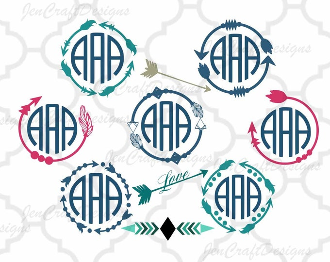 Featured listing image: Arrow Monogram Svg Boho, Cute Arrow Svg Digital Design, Cutting files for Silhouette & Cricut Svg Dxf Eps, Png Silhouette Cuttable Frames
