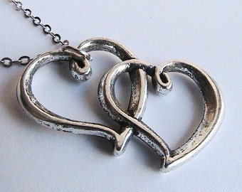 Double Heart Necklace, Love Necklace