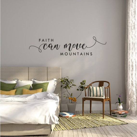 Bible Verse Wall Decal Quote Bedroom Scripture Wall Sticker Above Bed Decor  Bible Quote Over Bed Vinyl Wall Decal Faith Can Move Mountains