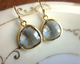 Charcoal Gray Earrings Gold - Bridesmaid Earrings - Bridal Earrings - Wedding Earrings - Valentines Day Gift