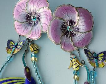 Enamel Sterling Hummingbird Lunch Ritz Earrings