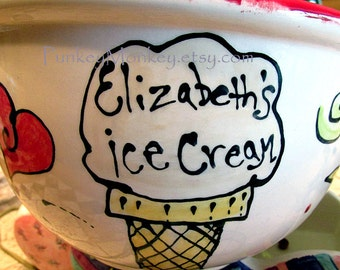 Standard size Custom ceramic pottery bowl personalized ice cream popcorn cereal bowl kiln fired pottery teens adults wedding birthday