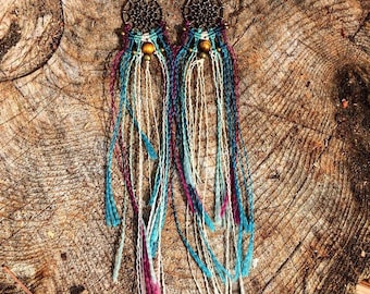 Macrame Earrings with Tiger's Eye Bead and Copper Beads <3