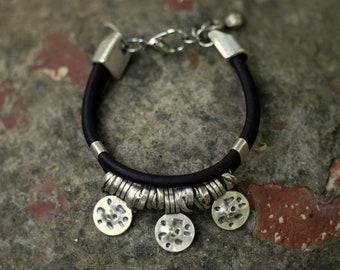 womens leather bracelet silver bracelet  beads bracelet womens bracelet womens jeweley fashion jewelry Anniversary Gift