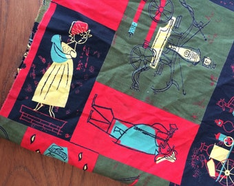 1953 Hook N Ladder Novelty  Fabric