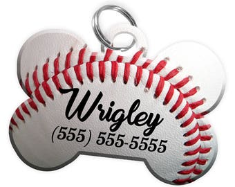 Baseball Personalized Pet ID Dog Tag with Pets Name & Contact Number