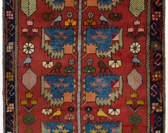 """3'3"""" x 4'9"""" Vintage Persian Rug, Persian Antique Rug, Handmade, Hand-Knotted Rug"""