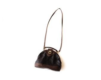 Black and Brown Faux Alligator Leather Crossbody Shoulder Bag | New Vintage Deadstock
