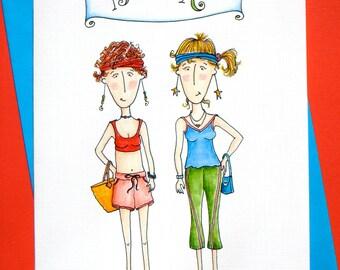 Women Friendship Card - Card for Women Runners - Running Friends - Best Friends Card