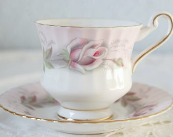 Vintage Paragon Lady Size Cup and Saucer, White and Soft Pink, Pink Rose Decor, England