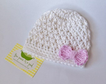 Baby Hat - Crocheted Baby Hat - White/Pink Hat - Bow Hat -Photo Prop - Girl Hat - Baby Girl Hat - Knit Hat
