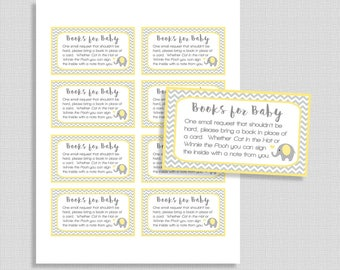 Yellow Elephant Baby Shower Book Request, Yellow and Grey Chevron Invite Insert, Books for Baby, INSTANT PRINTABLE
