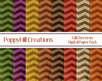 INSTANT DOWNLOAD - Printable Fall Cheveron Digital Paper Pack - For Commercial or Personal Use - Digital Designs