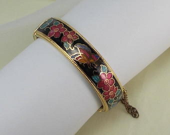 Vintage Flower and Butterfly Cloisonne Cuff Bracelet with Safety Chain  2813