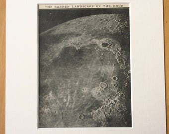 1935 The Barren Landscape of the Moon Original Vintage Print - Available Framed - 10 x 12 inches - Astronomy - Decorative Wall Decor