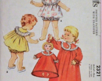 Vintage sewing pattern McCall's #2321 ©1959 Child's size 1 - Nightgown, shortie nightie with bloomers & nightie bag.  Complete
