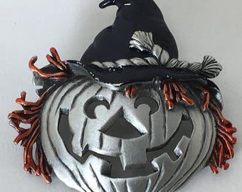 Vintage JJ Halloween Brooch Large Jack O' Lantern