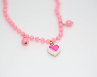 Small Striped Heart Necklace in Pink