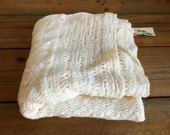 Vintage Yellow Baby Blanket/Hand Knit Baby Shawl/Donbros Scotland/Baby Afghan/Lap Blanket/Small Baby Girl Boy Blanket/Unisex Baby Blanket