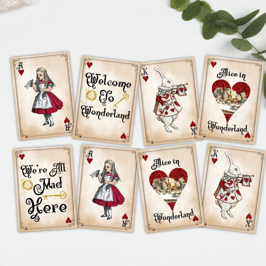 Alice in Wonderland Playing Card Style Gift Tags, Toppers, Card ...