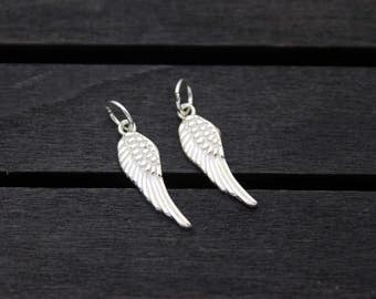 2 Sterling Silver Angel Wing Charms 17mm
