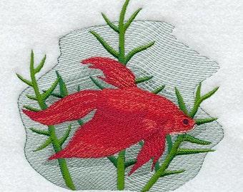 Siamese Fighting Fish Beta Embroidered Flour Sack Hand/Dish Towel
