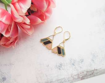 Beaded earrings , Dangle earrings , Gold earrings , Boho chic earrings , Bohemian earring , Flower petal earrings , Gift for her