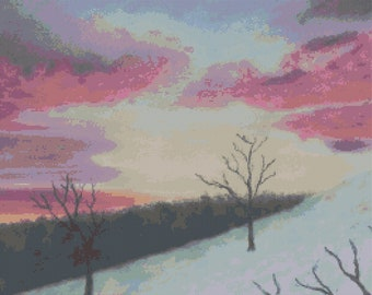 Winter in Pink cross stitch pattern