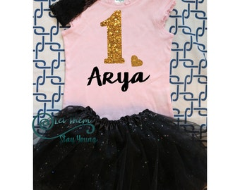Customized First Birthday Shirt Tank Top Birthday Baby Girl Shirt Baby Girl Custom 1st Birthday Shirt Gold Glitter First Birth Day