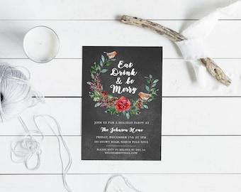 Christmas Party Invitation - Personalized Holiday Invitation, Digital Download, Custom Holiday Invitation, Chalkboard, Seasonal Card