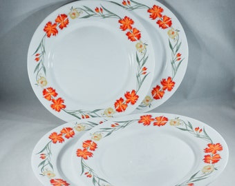 Vintage Arcopal France Wildflower White Dinner Plates-Floral-Opal Ware-Orange Yellow Green-Dinnerware-Farmhouse