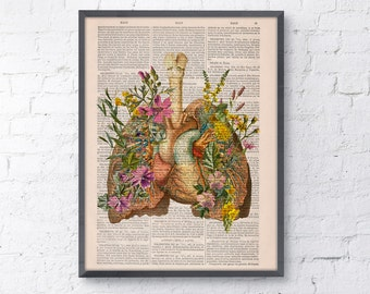 Pink Flowery Lungs and heart human Anatomy Print, love art, human anatomy, science & anatomy art, wall decor SKA099