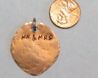 Personalized wedding bouquet charm, hand stamped, wedding keepsake tag, bodice garter tag, couples wedding tag, wine bottle charm, key chain