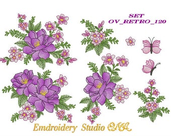 "Machine embroidery flowers set of designs "" OV_RETRO_120 "" of series ""Flower Retro"" - flower embroidery - machine embroidery - flower"