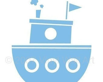 Vinyl Tugboat Wall Decal LARGE