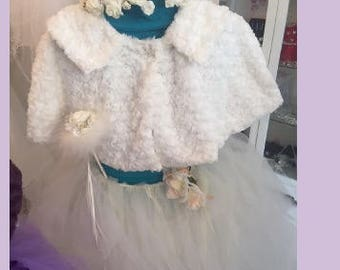 Child's Faux Fur Cape in a Feather Pattern