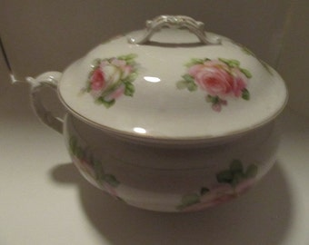 Knowles, Taylor and Knowles Co Lidded Rose Transfer Chamber Pot- Made in USA