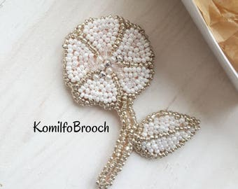 Brooch flower beaded brooch embroided white brooch Handmade Flower Brooch stylish brooch pin brooch