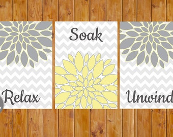 Floral Flower Burst Gray Yellow Set of 3 Wall Decor Spa Master Bathroom Relax Soak Unwind 5x7 Digital JPG Files Instant Download (91)
