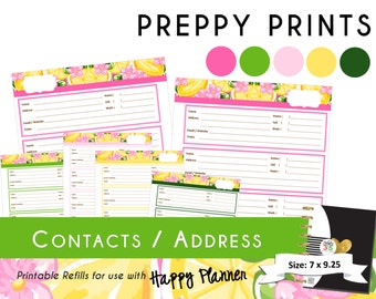PRINTABLE Contacts / Address Pages Happy Planner - Classic  [ 7 x 9.25 ]  Create 365 | Me & My Big Ideas | mambi PREPPY PRINTS - Lemon Lime