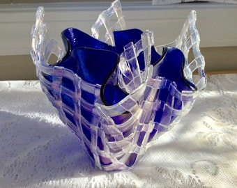 Fused Glass Vase Sculpture, Iridescent Cobalt Blue Vase with Layered Lattice Glass, Blue Art Glass Sculpture