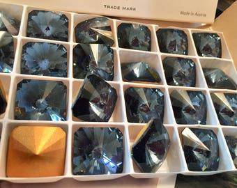 Vintage Swarovski 18mm Seal GF Square Rivoli Crystal 8217BLU x1