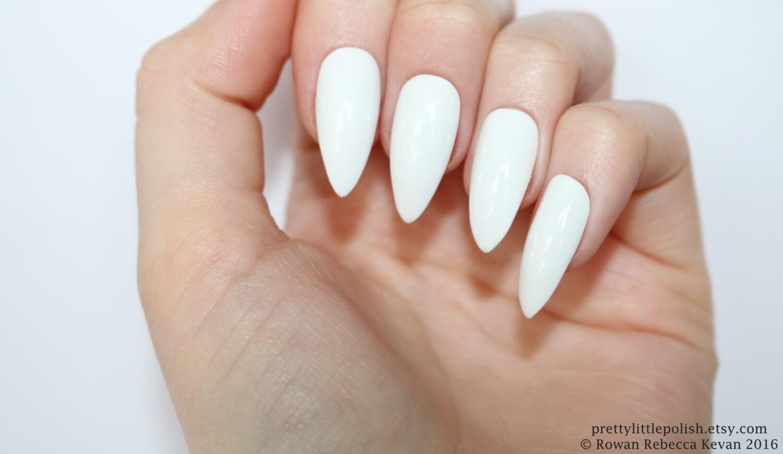 Stiletto nails, White stiletto nails, Fake nails, Press on nails ...