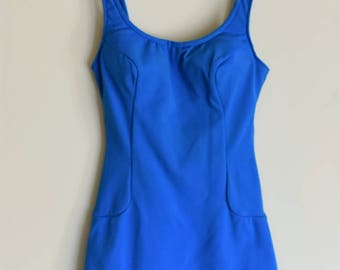 Bright blue mod skirted swimsuit medium B cup gogo 1960s 1950s adjustable buttons pinup structured stretch size 8/10
