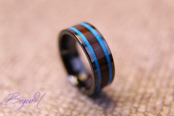 Inlay Wood Black Carbon Fiber ring wood wedding bands Black