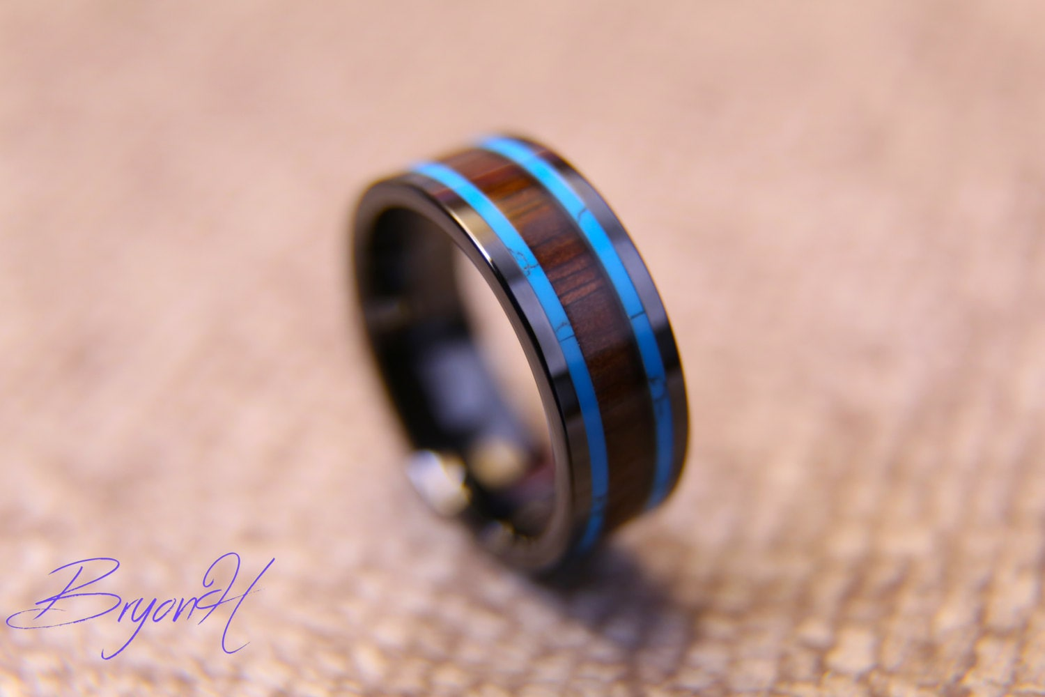 Inlay Wood Black Carbon Fiber ring wood wedding bands Black
